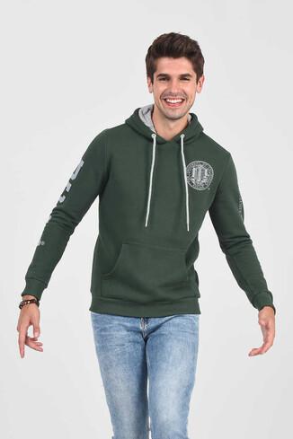 UCLA - OBISPO Yeşil Kapüşonlu Baskılı Erkek Sweatshirt (1)