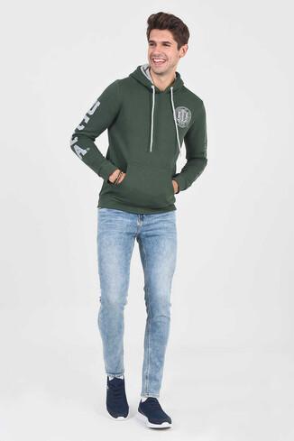 OBISPO Yeşil Kapüşonlu Baskılı Erkek Sweatshirt - Thumbnail (2)