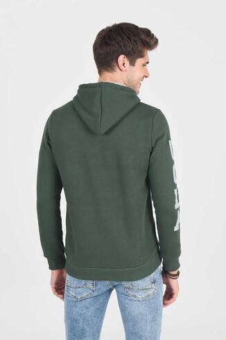 OBISPO Yeşil Kapüşonlu Baskılı Erkek Sweatshirt - Thumbnail (4)