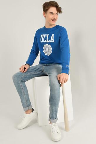 UCLA - OLIVOS Mavi Bisiklet Yaka Baskılı Erkek Sweatshirt