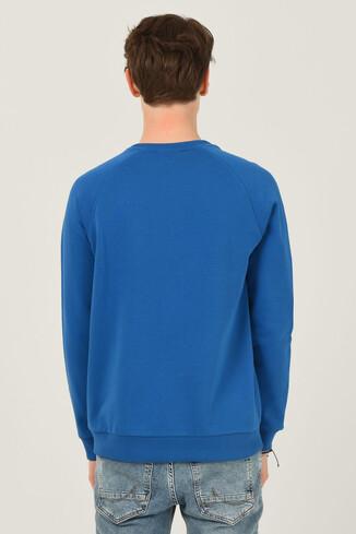 OLIVOS Mavi Bisiklet Yaka Baskılı Erkek Sweatshirt - Thumbnail (3)