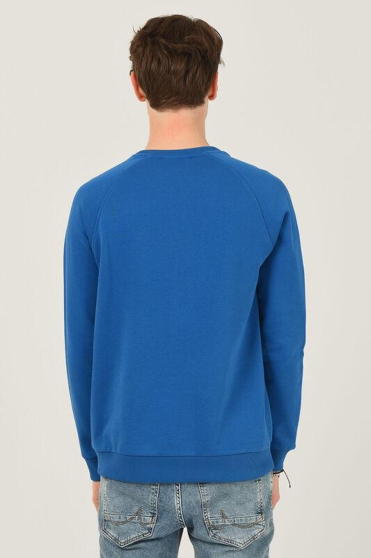 OLIVOS Mavi Bisiklet Yaka Baskılı Erkek Sweatshirt - Thumbnail