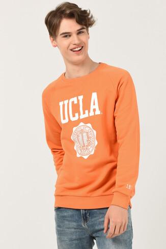 UCLA - OLIVOS Turuncu Bisiklet Yaka Baskılı Erkek Sweatshirt