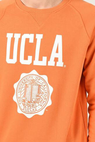 UCLA - OLIVOS Turuncu Bisiklet Yaka Baskılı Erkek Sweatshirt (1)