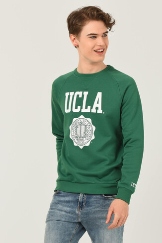 UCLA - OLIVOS Yeşil Bisiklet Yaka Baskılı Erkek Sweatshirt (1)