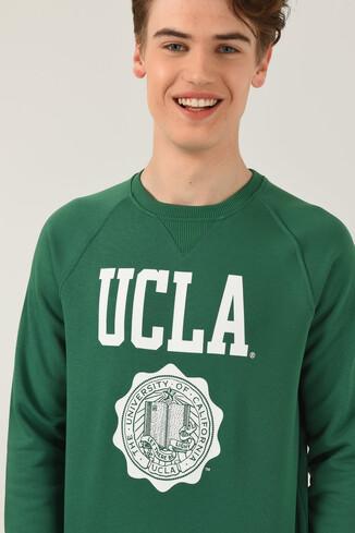 UCLA - OLIVOS Yeşil Bisiklet Yaka Baskılı Erkek Sweatshirt
