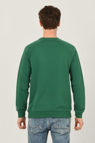 OLIVOS Yeşil Bisiklet Yaka Baskılı Erkek Sweatshirt - Thumbnail (5)