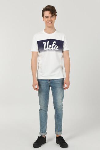 OXNARD Beyaz Bisiklet Yaka Erkek T-shirt - Thumbnail (2)