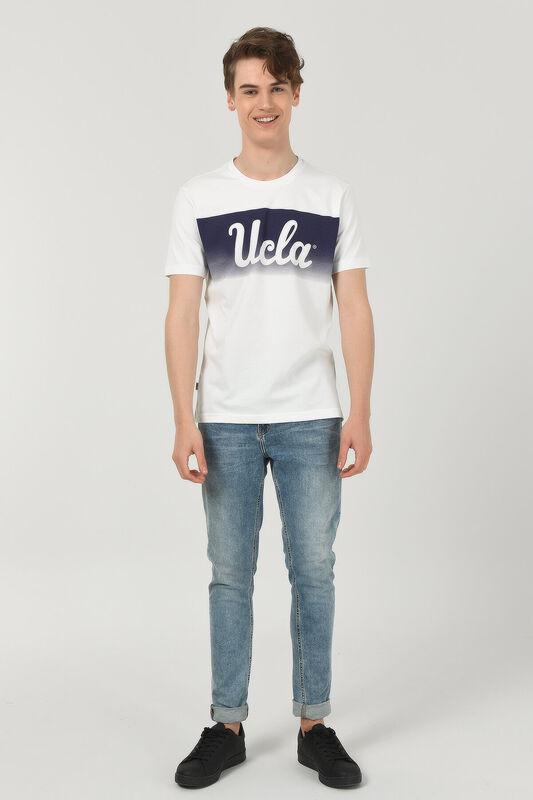 OXNARD Beyaz Bisiklet Yaka Erkek T-shirt - Thumbnail
