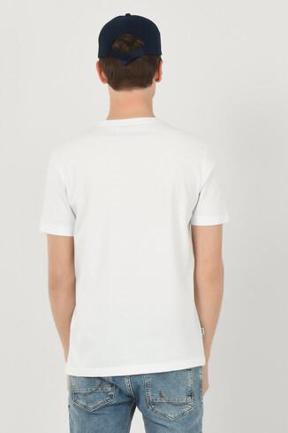 OXNARD Beyaz Bisiklet Yaka Erkek T-shirt - Thumbnail (3)