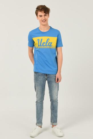 OXNARD Mavi Bisiklet Yaka Erkek T-shirt - Thumbnail (2)