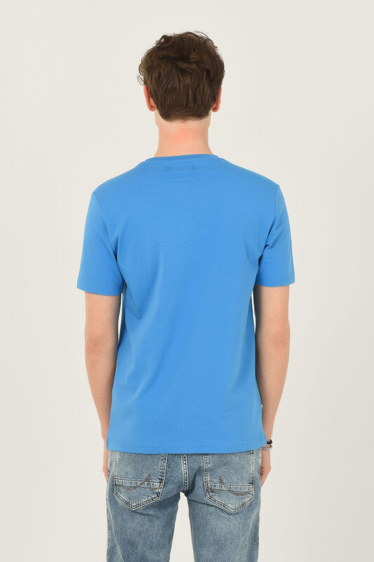 OXNARD Mavi Bisiklet Yaka Erkek T-shirt - Thumbnail