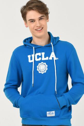 UCLA - PHELAN Mavi Kapüşonlu Baskılı Erkek Sweatshirt