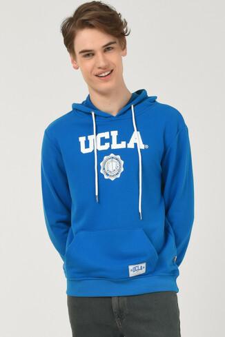 UCLA - PHELAN Mavi Kapüşonlu Baskılı Erkek Sweatshirt (1)