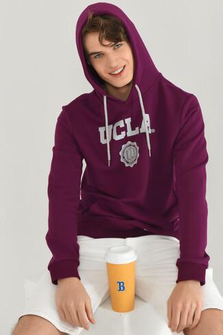 UCLA - PHELAN Mor Kapüşonlu Baskılı Erkek Sweatshirt