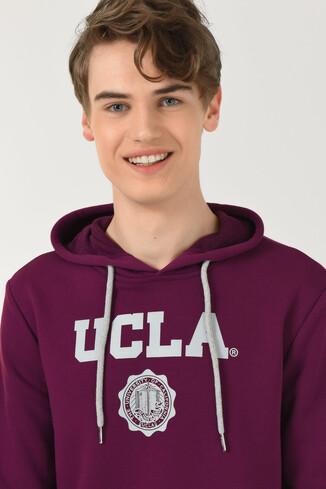 UCLA - PHELAN Mor Kapüşonlu Baskılı Erkek Sweatshirt (1)