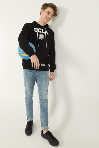 UCLA - PHELAN Siyah Kapüşonlu Baskılı Erkek Sweatshirt