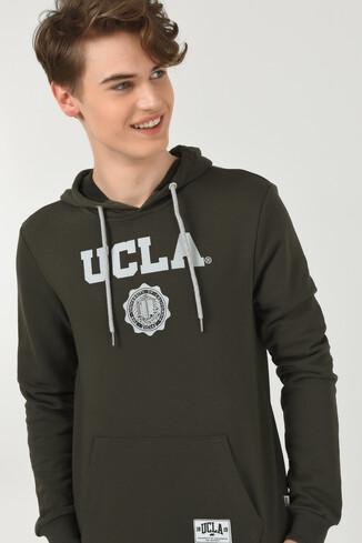 UCLA - PHELAN Yeşil Kapüşonlu Baskılı Erkek Sweatshirt