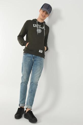 UCLA - PHELAN Yeşil Kapüşonlu Baskılı Erkek Sweatshirt (1)