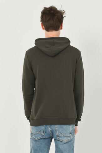 PHELAN Yeşil Kapüşonlu Baskılı Erkek Sweatshirt - Thumbnail (3)