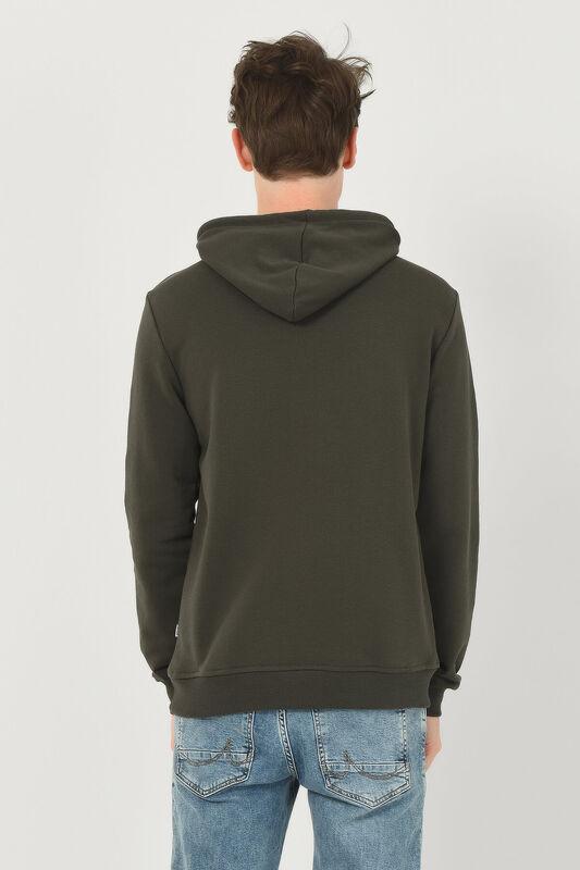 PHELAN Yeşil Kapüşonlu Baskılı Erkek Sweatshirt - Thumbnail