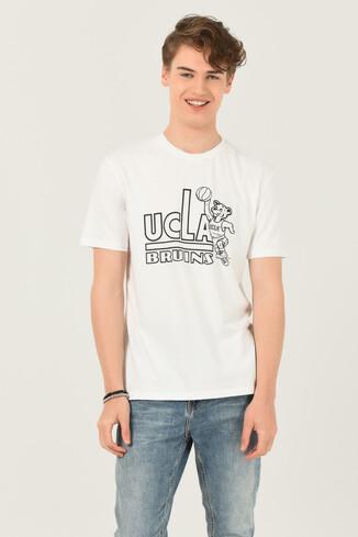 UCLA - PINOLE Beyaz Bisiklet Yaka Baskılı Erkek T-shirt