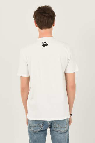 PINOLE Beyaz Bisiklet Yaka Baskılı Erkek T-shirt - Thumbnail (3)