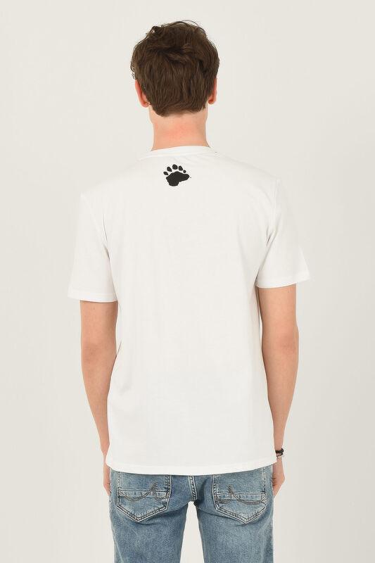 PINOLE Beyaz Bisiklet Yaka Baskılı Erkek T-shirt - Thumbnail