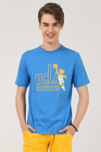 PINOLE Mavi Bisiklet Yaka Baskılı Erkek T-shirt - Thumbnail (2)