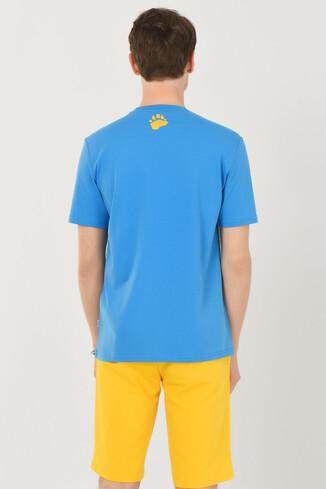 PINOLE Mavi Bisiklet Yaka Baskılı Erkek T-shirt - Thumbnail (3)