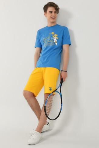 PINOLE Mavi Bisiklet Yaka Baskılı Erkek T-shirt - Thumbnail (4)