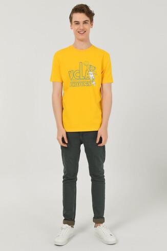 PINOLE Sarı Bisiklet Yaka Baskılı Erkek T-shirt - Thumbnail (2)