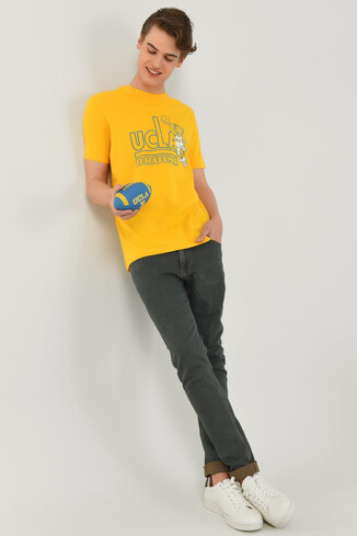 PINOLE Sarı Bisiklet Yaka Baskılı Erkek T-shirt - Thumbnail (4)