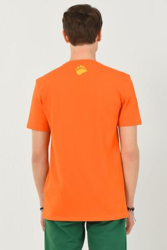 PINOLE Turuncu Bisiklet Yaka Baskılı Erkek T-shirt - Thumbnail (3)