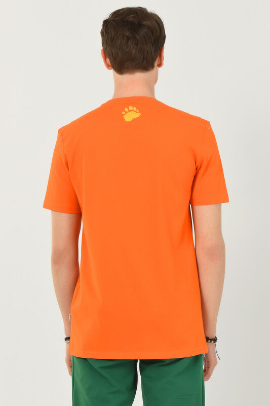 PINOLE Turuncu Bisiklet Yaka Baskılı Erkek T-shirt - Thumbnail