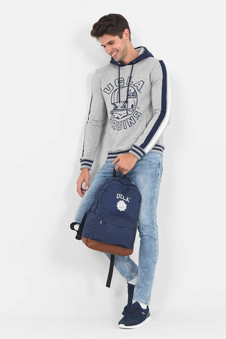 UCLA - POINT Gri Kapüşonlu Baskılı Erkek Sweatshirt