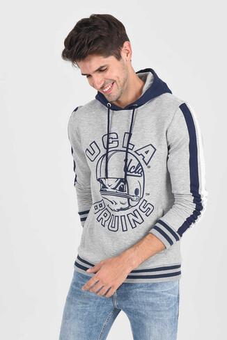 UCLA - POINT Gri Kapüşonlu Baskılı Erkek Sweatshirt (1)