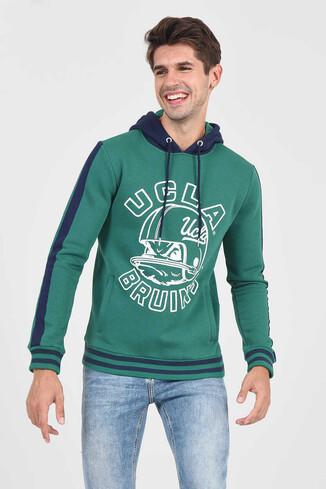 UCLA - POINT Yeşil Kapüşonlu Baskılı Erkek Sweatshirt