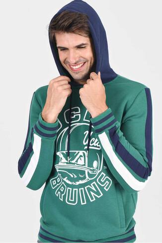 UCLA - POINT Yeşil Kapüşonlu Baskılı Erkek Sweatshirt (1)