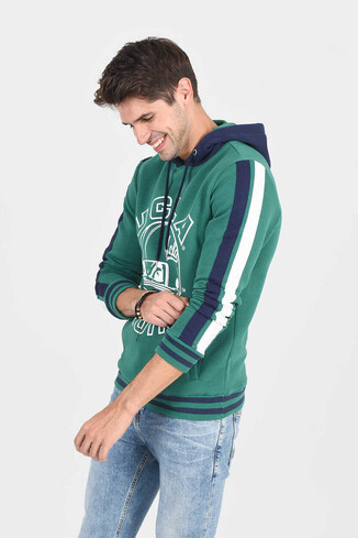 POINT Yeşil Kapüşonlu Baskılı Erkek Sweatshirt - Thumbnail (2)