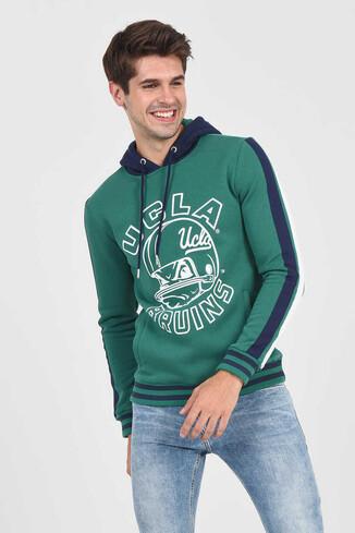 POINT Yeşil Kapüşonlu Baskılı Erkek Sweatshirt - Thumbnail (3)