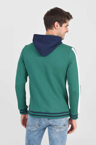 POINT Yeşil Kapüşonlu Baskılı Erkek Sweatshirt - Thumbnail (4)