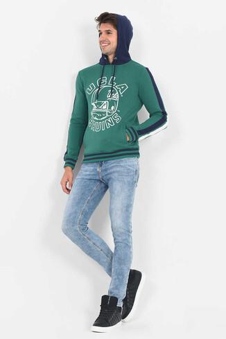 POINT Yeşil Kapüşonlu Baskılı Erkek Sweatshirt - Thumbnail (5)