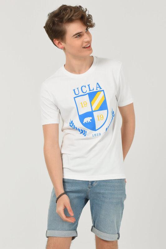 POMONA Beyaz Bisiklet Yaka Erkek T-shirt - Thumbnail
