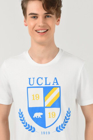UCLA - POMONA Beyaz Bisiklet Yaka Erkek T-shirt (1)