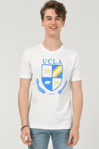 POMONA Beyaz Bisiklet Yaka Erkek T-shirt - Thumbnail (2)