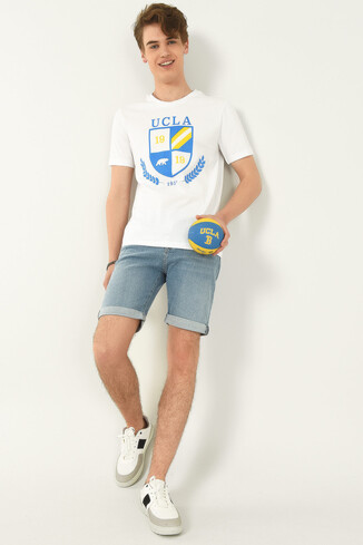 POMONA Beyaz Bisiklet Yaka Erkek T-shirt - Thumbnail (4)