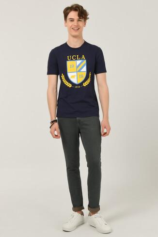 POMONA Lacivert Bisiklet Yaka Erkek T-shirt - Thumbnail (2)