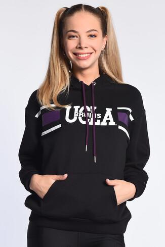 UCLA - PORTOLA Siyah Kapüşonlu Baskılı Kadın Sweatshirt
