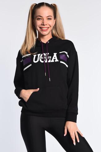 UCLA - PORTOLA Siyah Kapüşonlu Baskılı Kadın Sweatshirt (1)